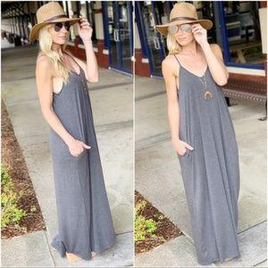 Gray V Neck Cami Maxi Dress
